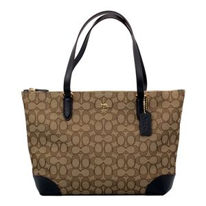 Zip Top Khaki/Brown Signature Jacquard Tote